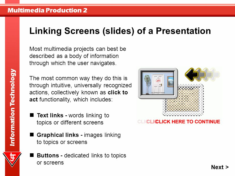 Linking Screens (slides) of a Presentation