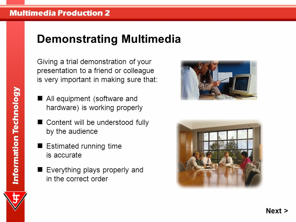 Demonstrating Multimedia
