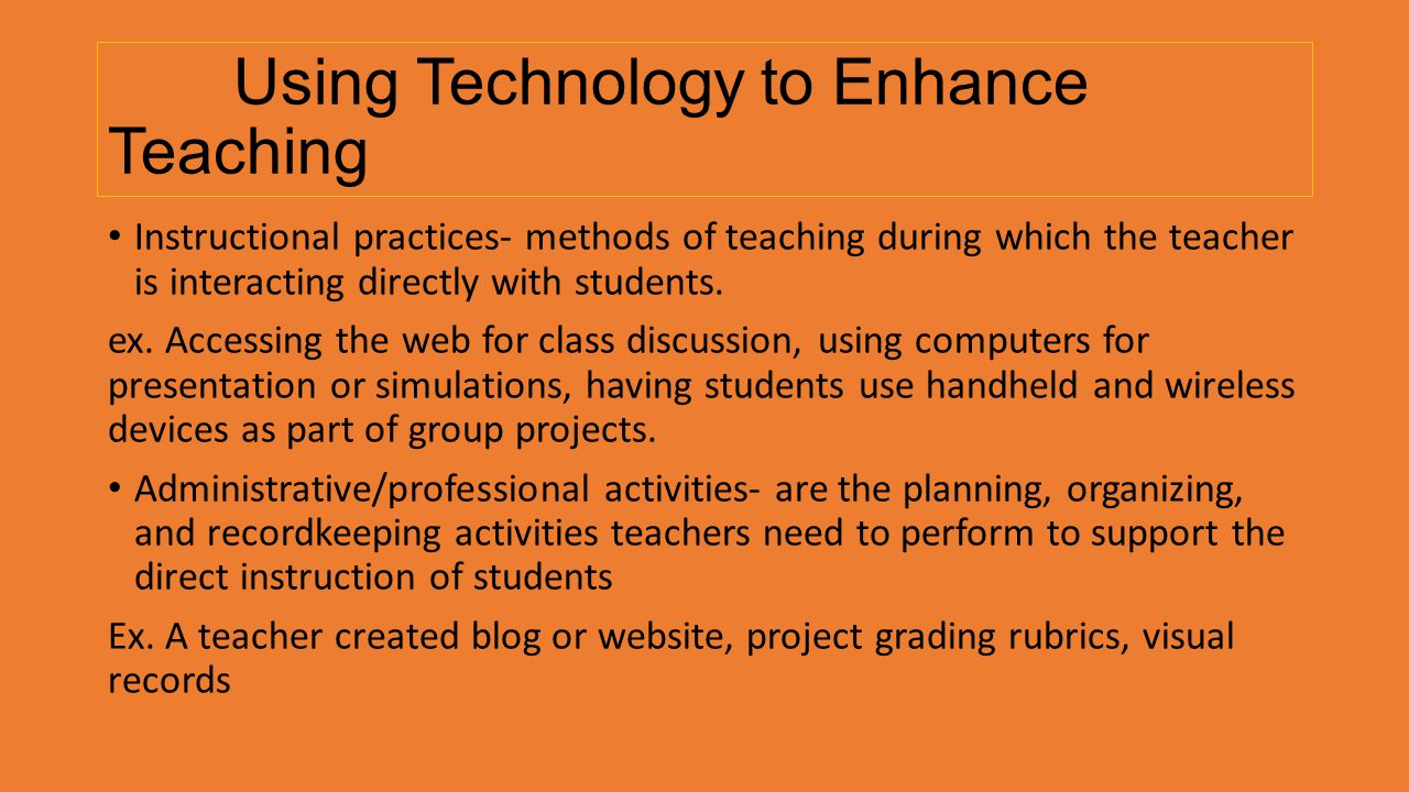Using Technology to Enhance Teaching