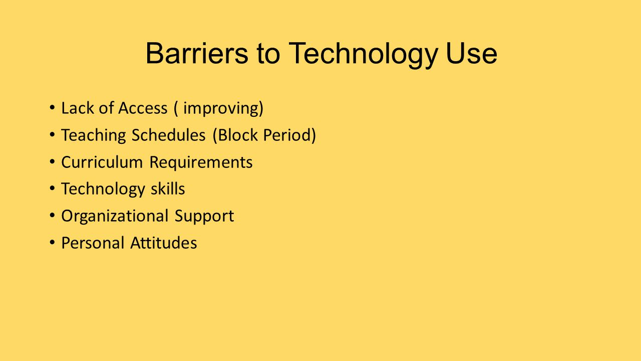 Barriers to Technology Use