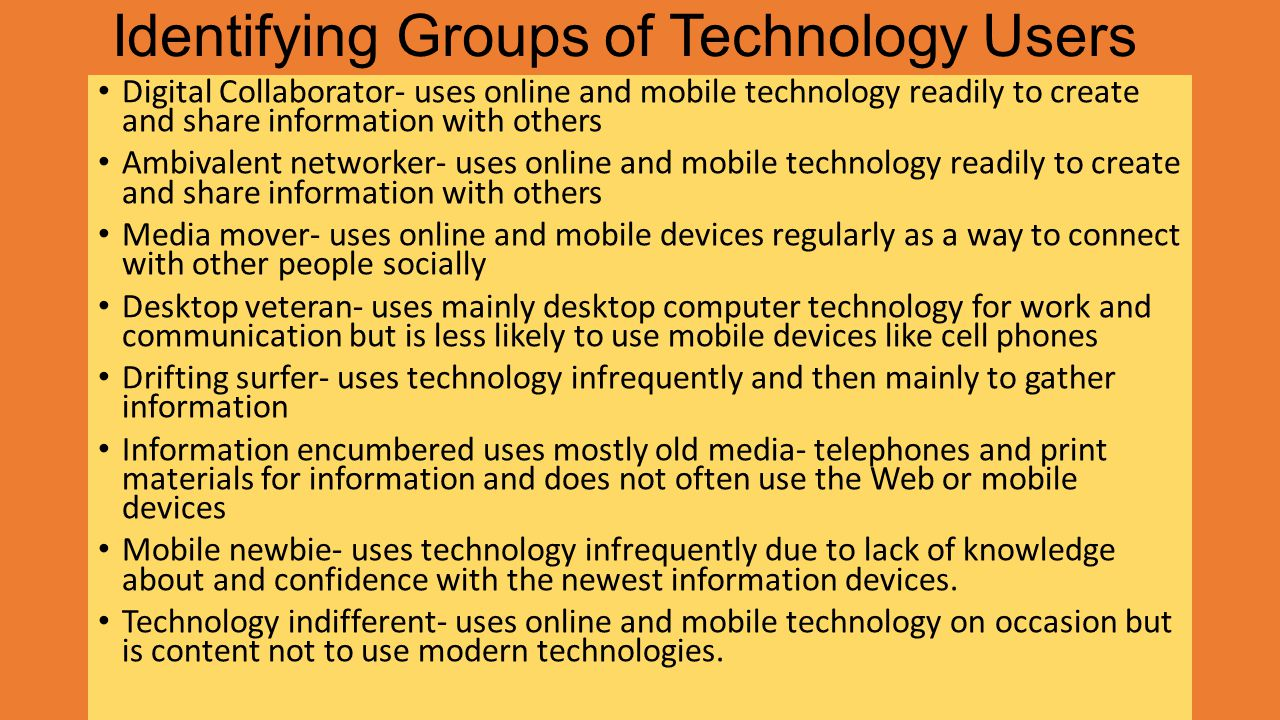 Identifying Groups of Technology Users