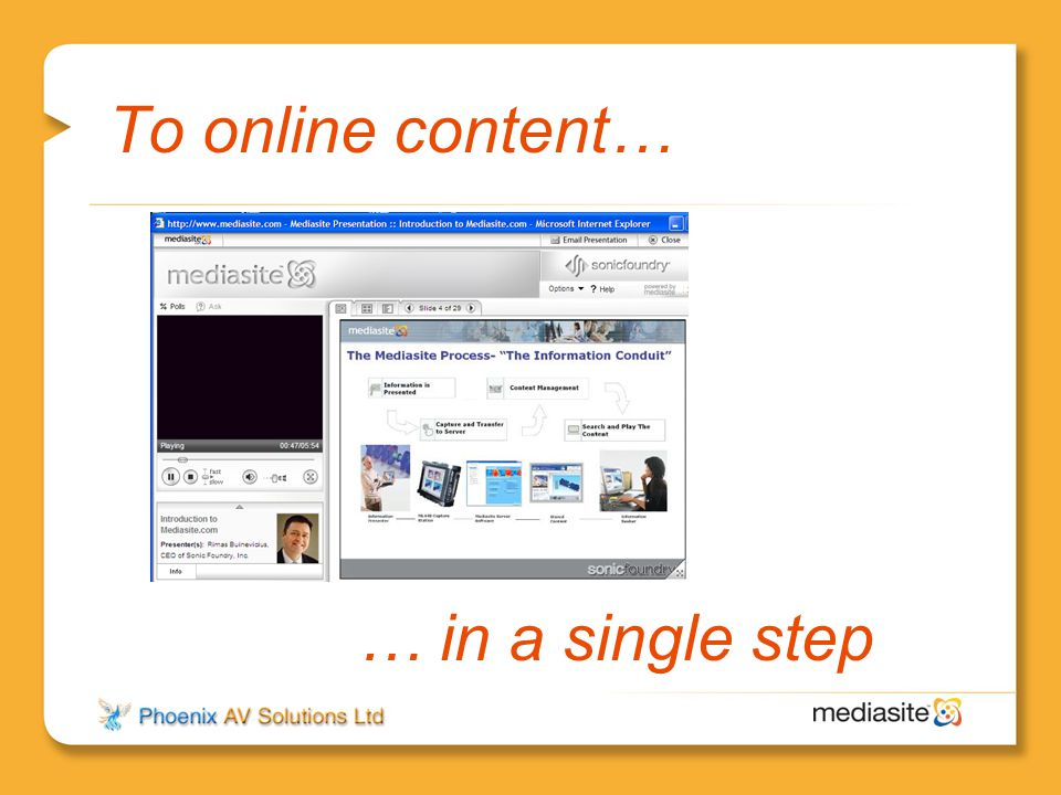 To online content… … in a single step