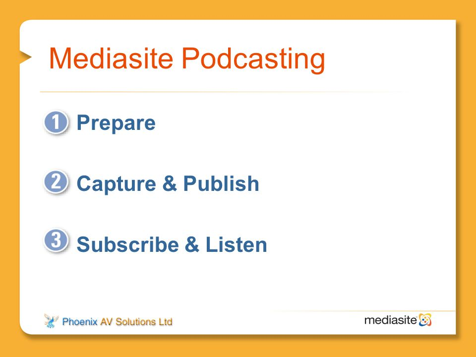 Mediasite Podcasting Prepare Capture & Publish Subscribe & Listen