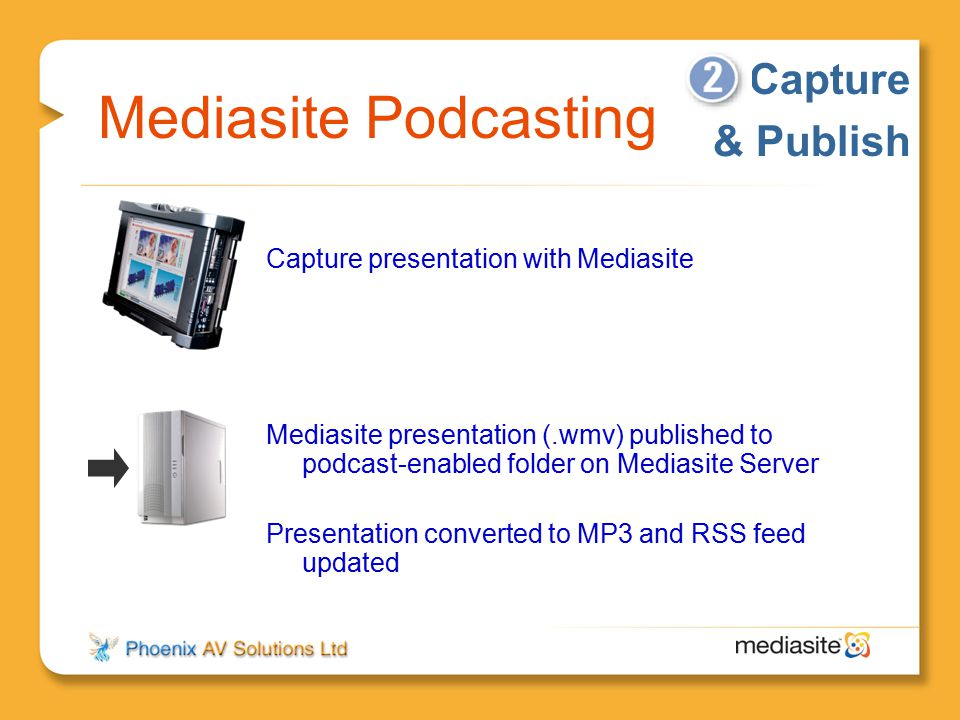 Mediasite Podcasting Capture & Publish