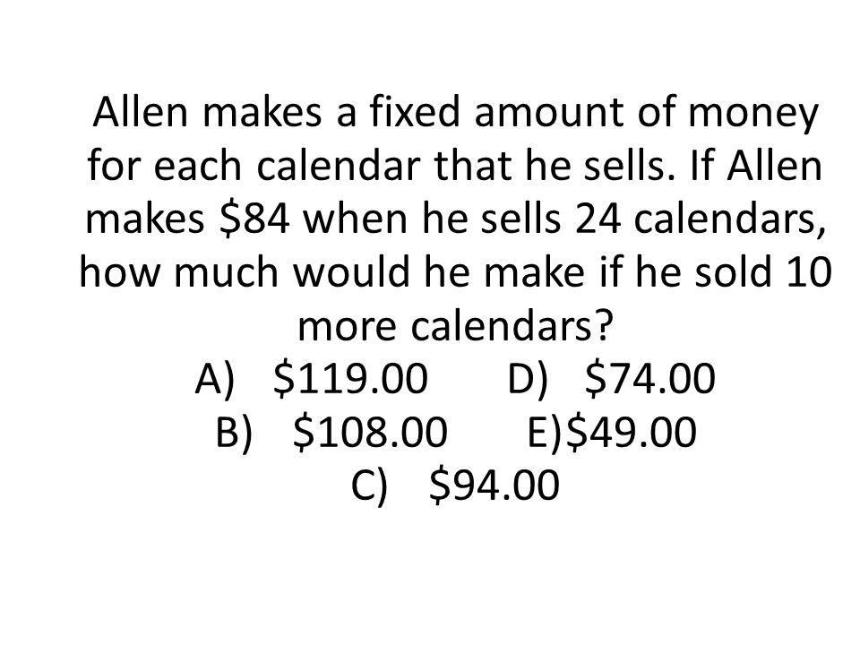 Allen makes a fixed amount of money for each calendar that he sells