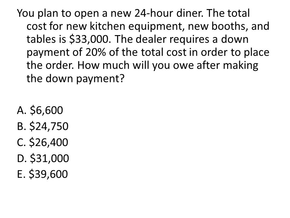 You plan to open a new 24-hour diner