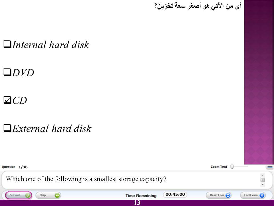 Internal hard disk DVD CD External hard disk