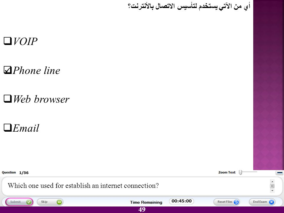 VOIP Phone line Web browser Email