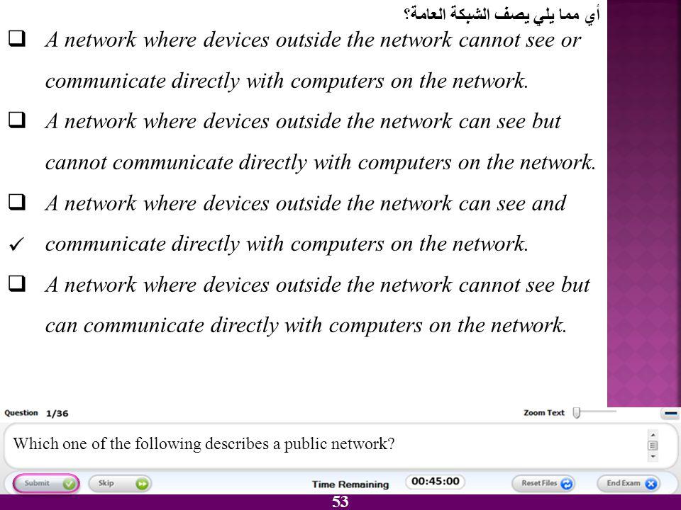 أي مما يلي يصف الشبكة العامة؟