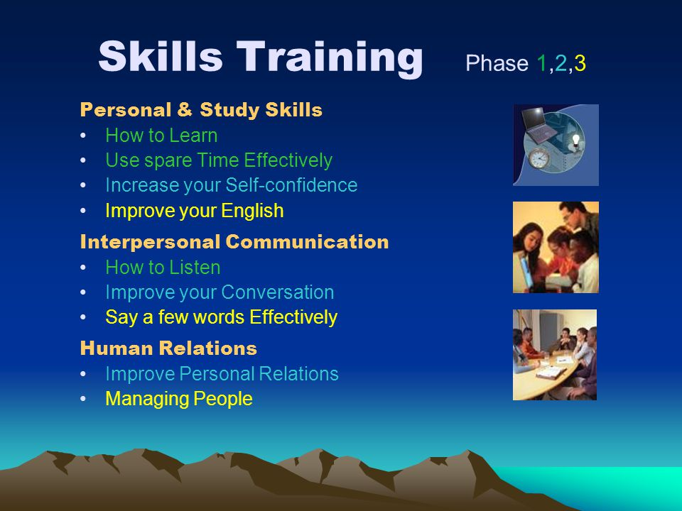 Skills Training Phase 1,2,3 Personal & Study Skills How to Learn