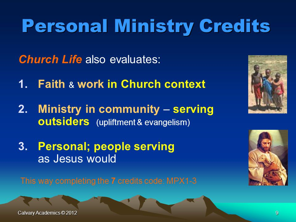 Personal Ministry Credits