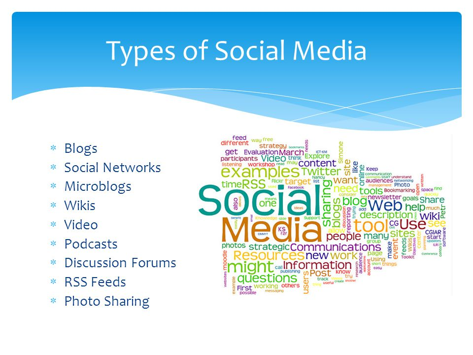 Types of Social Media Blogs Social Networks Microblogs Wikis Video