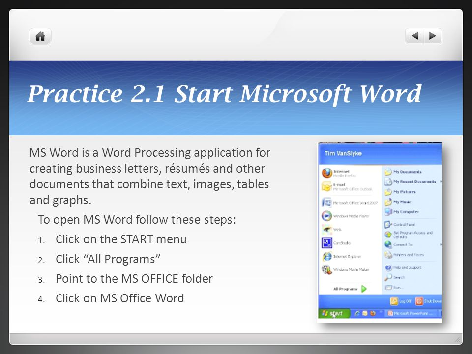 Practice 2.1 Start Microsoft Word