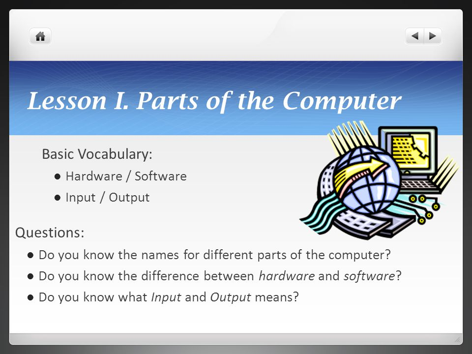 Lesson I. Parts of the Computer
