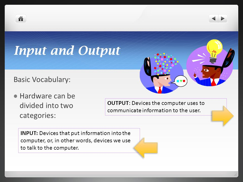 Input and Output Basic Vocabulary: