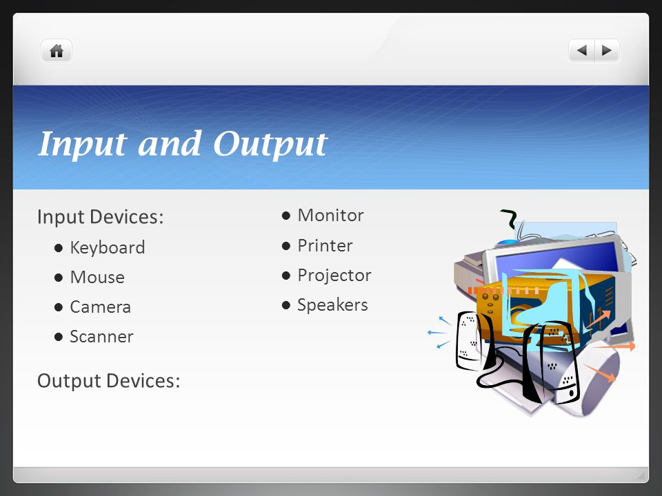 Input and Output Input Devices: Output Devices: Monitor Keyboard