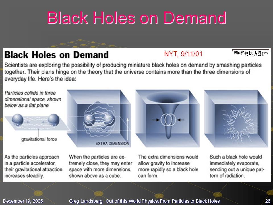 Black Holes on Demand NYT, 9/11/01 December 19, 2005