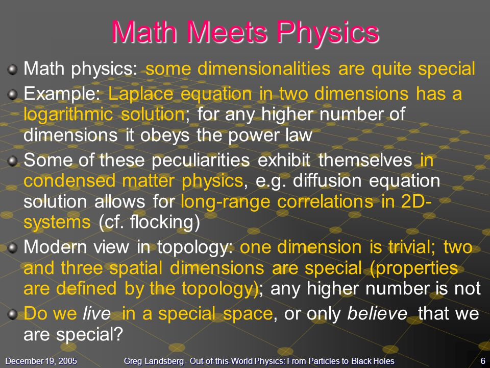 Math Meets Physics Math physics: some dimensionalities are quite special.