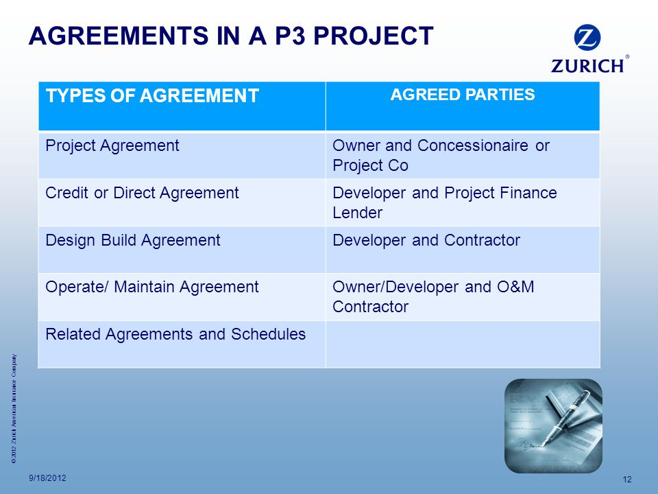 AGREEMENTS IN A P3 PROJECT