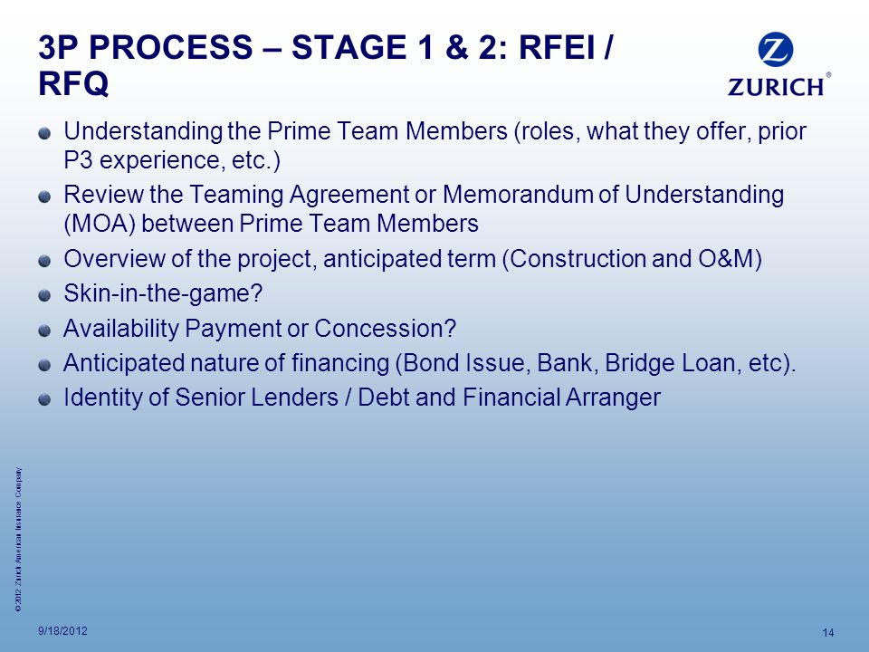 3P PROCESS – STAGE 1 & 2: RFEI / RFQ