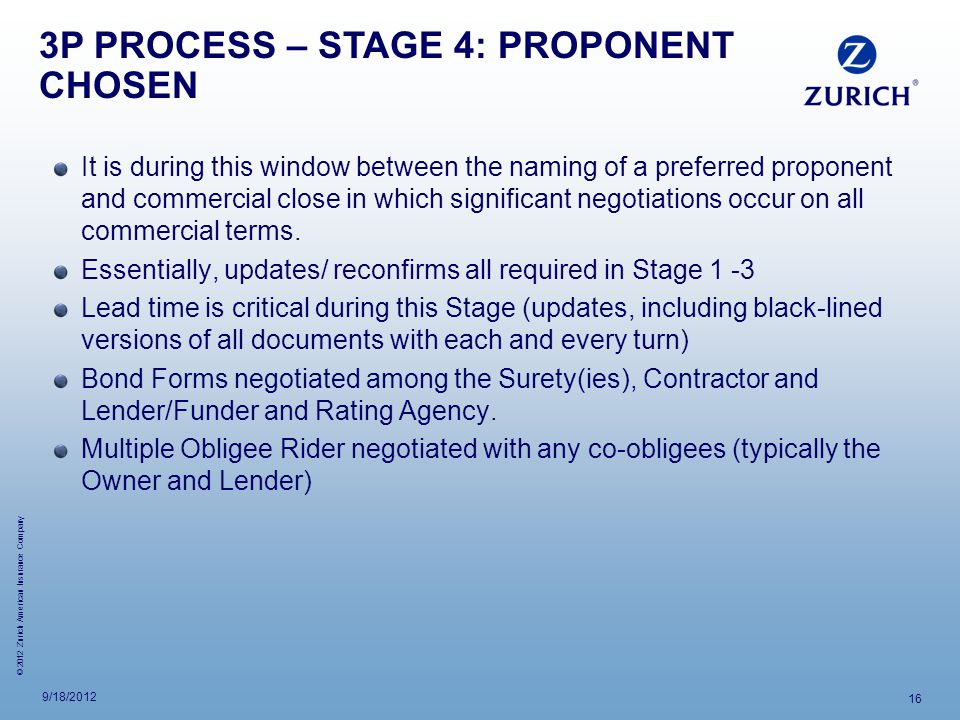 3P PROCESS – STAGE 4: PROPONENT CHOSEN