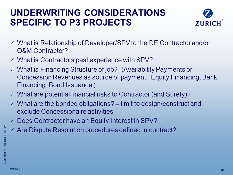 UNDERWRITING CONSIDERATIONS SPECIFIC TO P3 PROJECTS