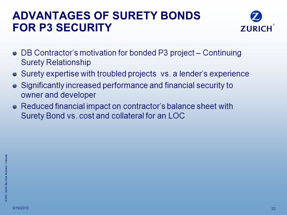 ADVANTAGES OF SURETY BONDS FOR P3 SECURITY
