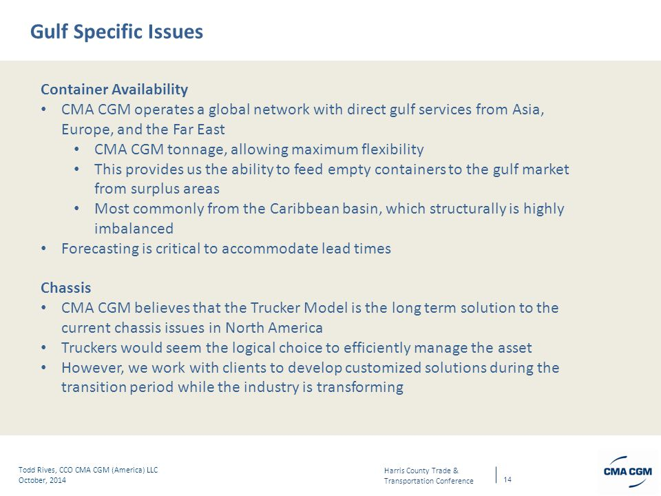 Gulf Specific Issues Container Availability