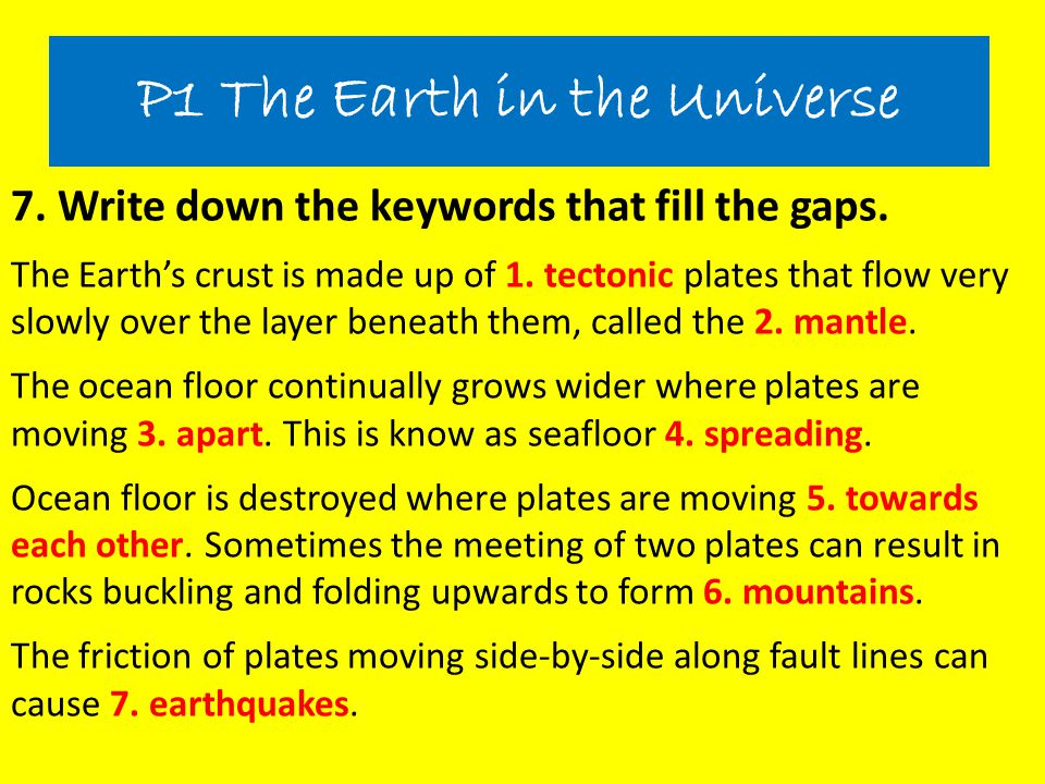 P1 The Earth in the Universe
