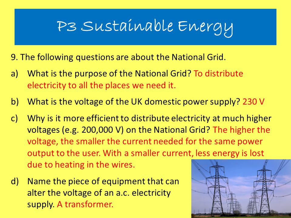 P3 Sustainable Energy 9. The following questions are about the National Grid.