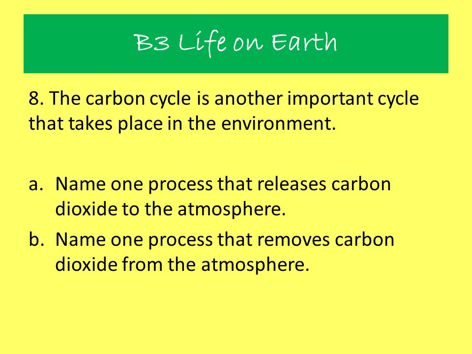 B3 Life on Earth 8. The carbon cycle is another important cycle that takes place in the environment.