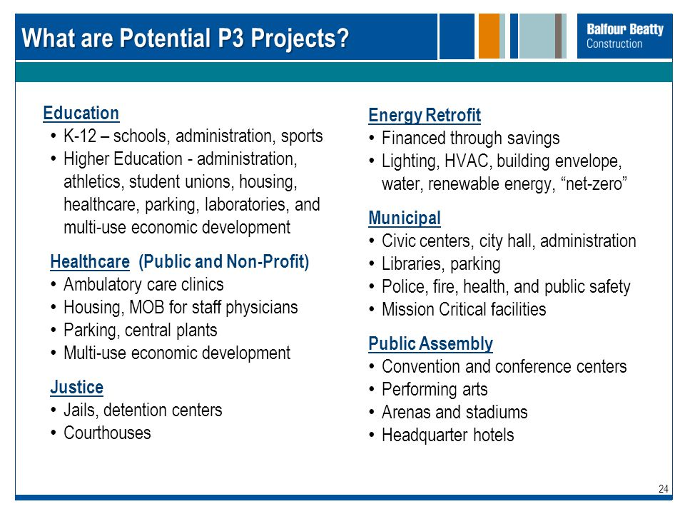 What are Potential P3 Projects