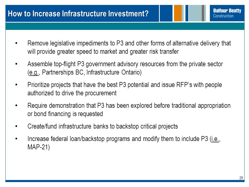 How to Increase Infrastructure Investment
