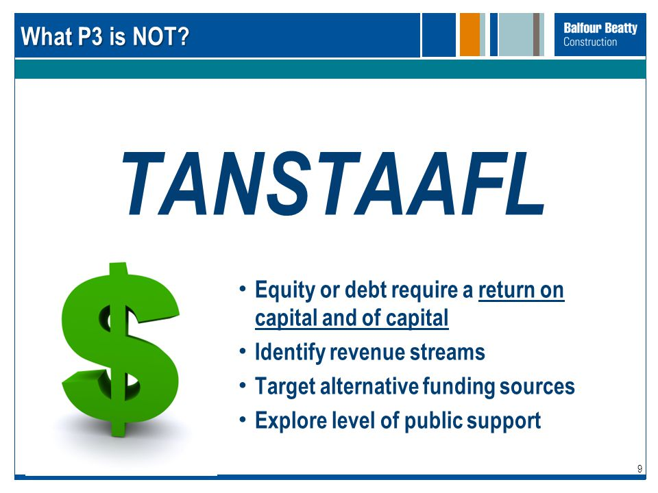 What P3 is NOT TANSTAAFL. Equity or debt require a return on capital and of capital. Identify revenue streams.