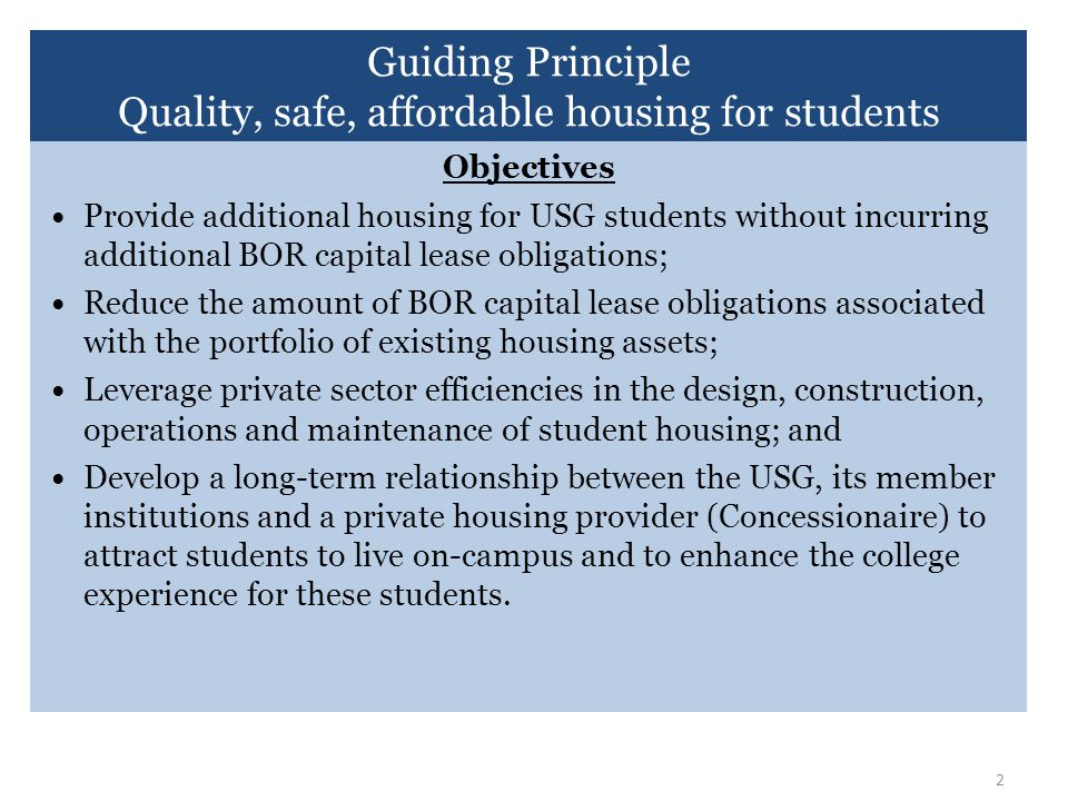 Quality, safe, affordable housing for students