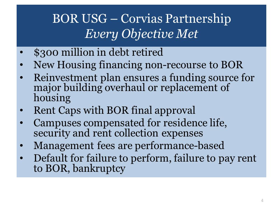 BOR USG – Corvias Partnership Every Objective Met