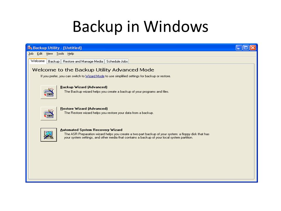Backup in Windows