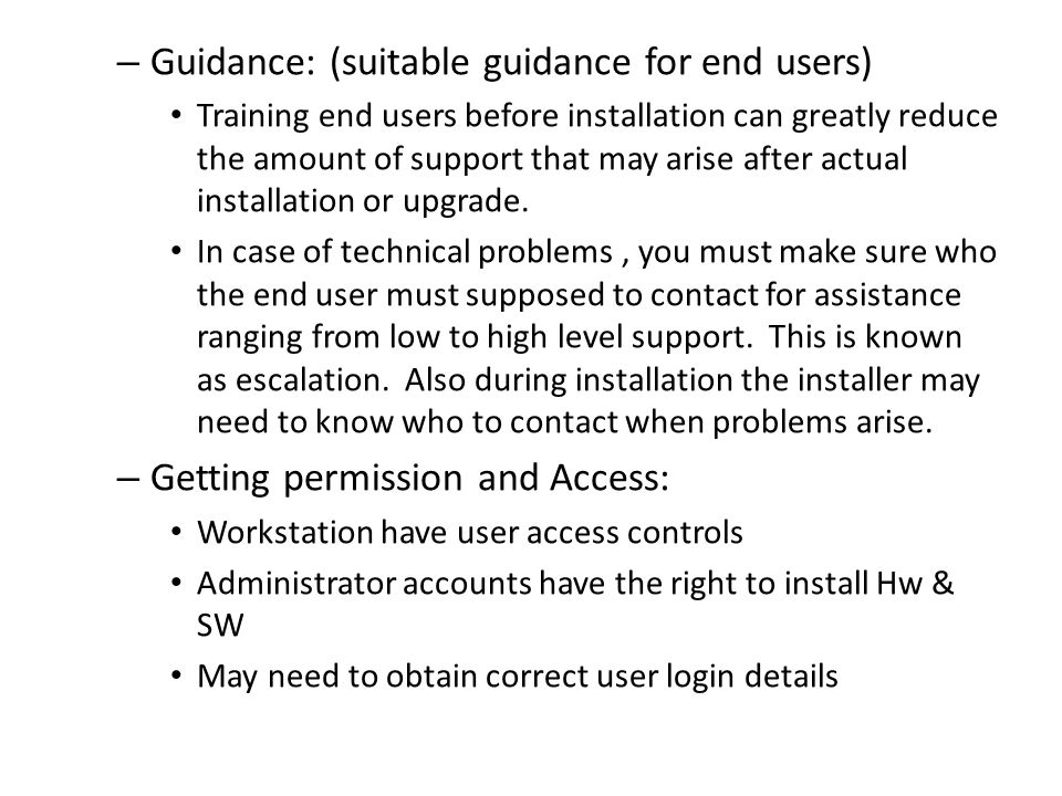 Guidance: (suitable guidance for end users)