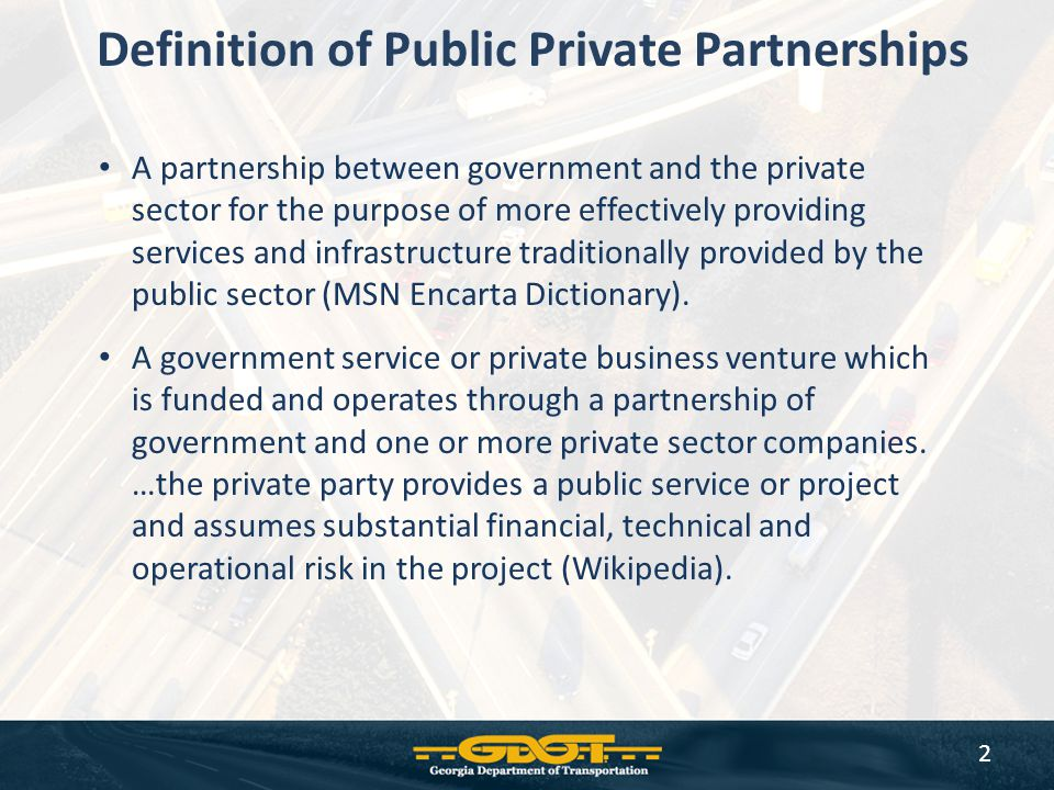 Definition of Public Private Partnerships