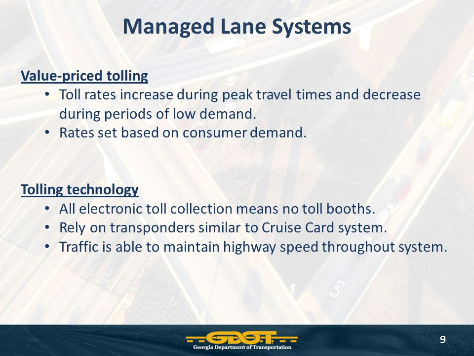 Managed Lane Systems Value-priced tolling