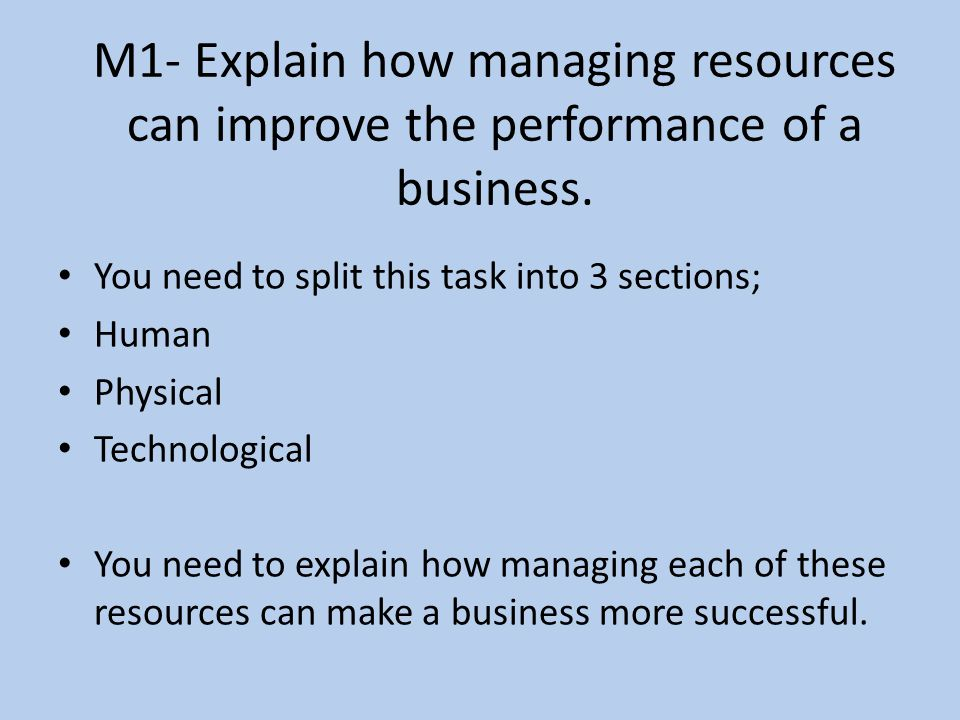 M1- Explain how managing resources can improve the performance of a business.