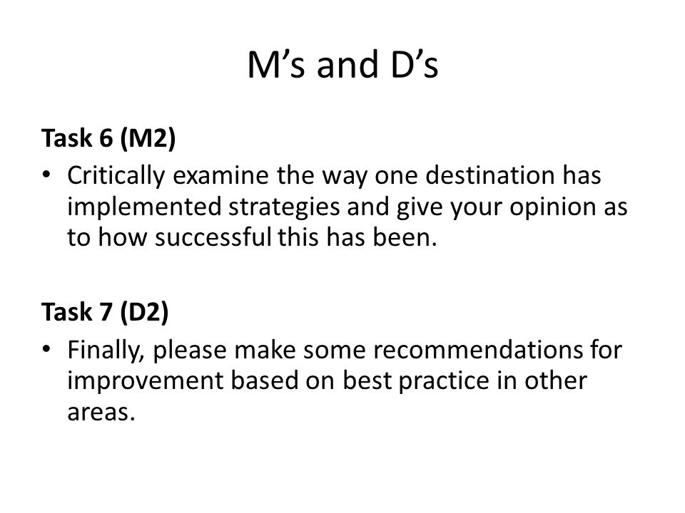 M's and D's Task 6 (M2)
