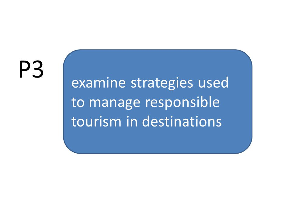 P3 examine strategies used to manage responsible tourism in destinations