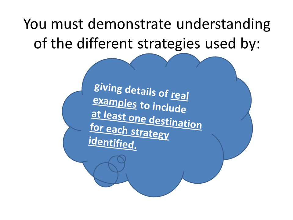 You must demonstrate understanding of the different strategies used by: