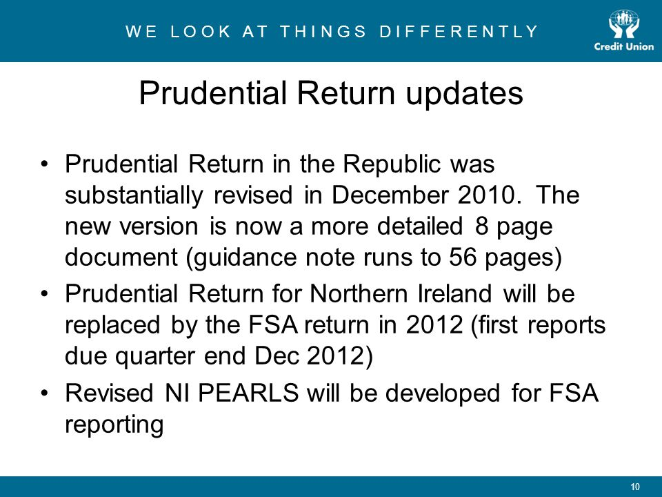 Prudential Return updates