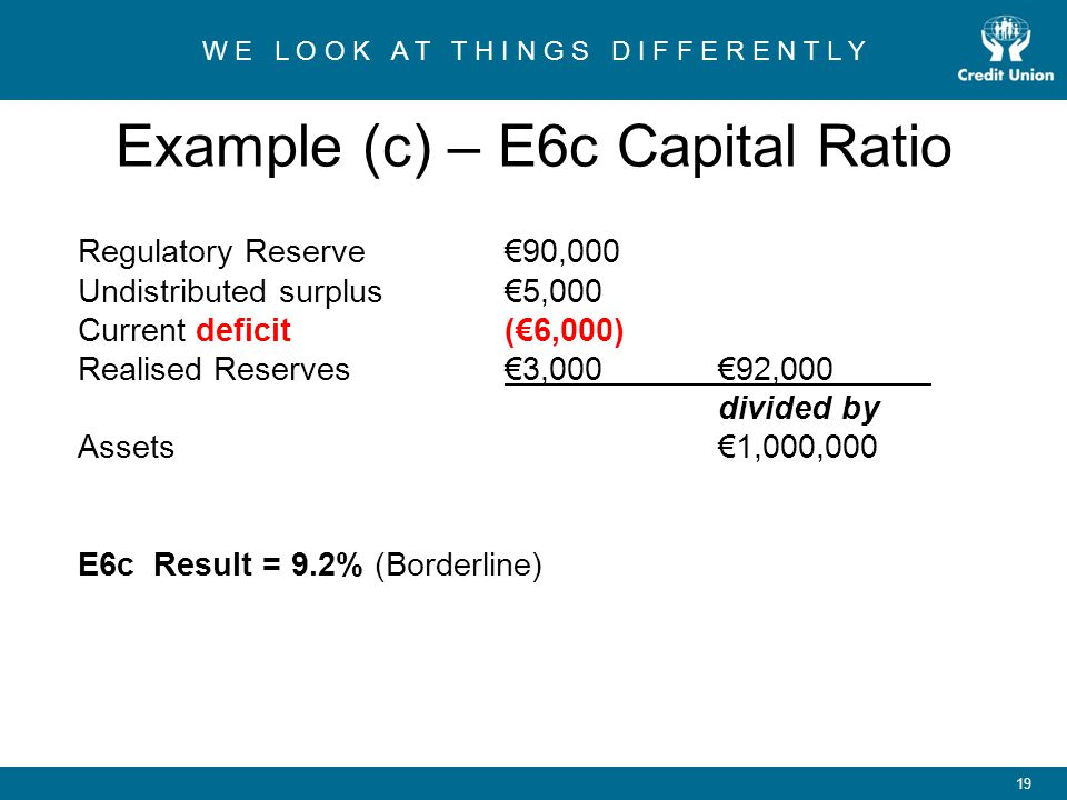 Example (c) – E6c Capital Ratio