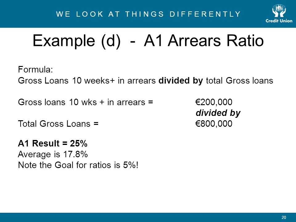 Example (d) - A1 Arrears Ratio