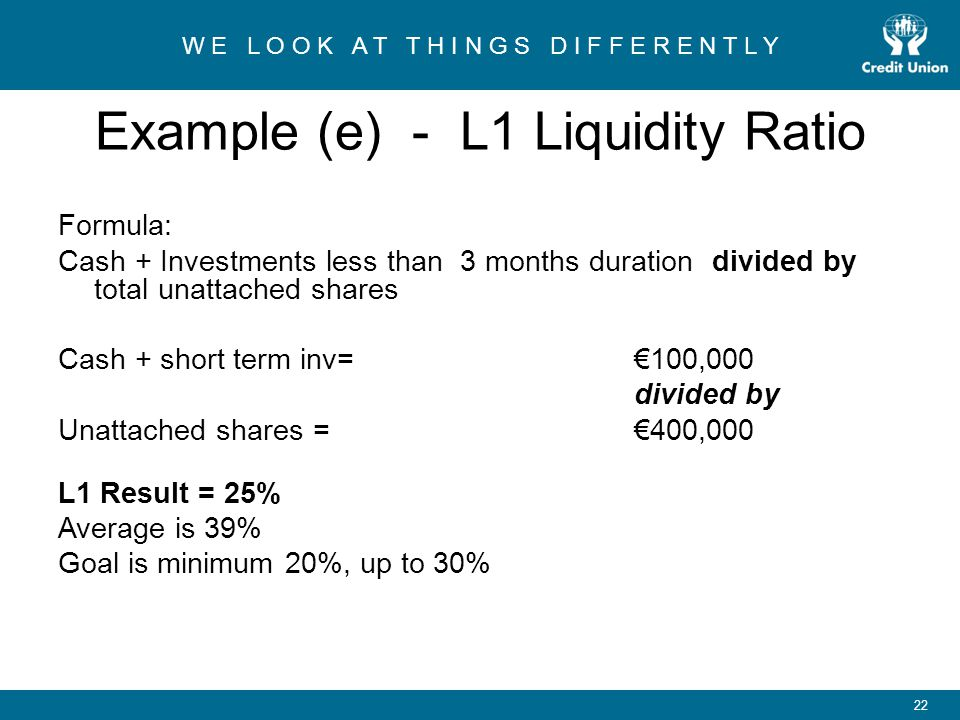 Example (e) - L1 Liquidity Ratio