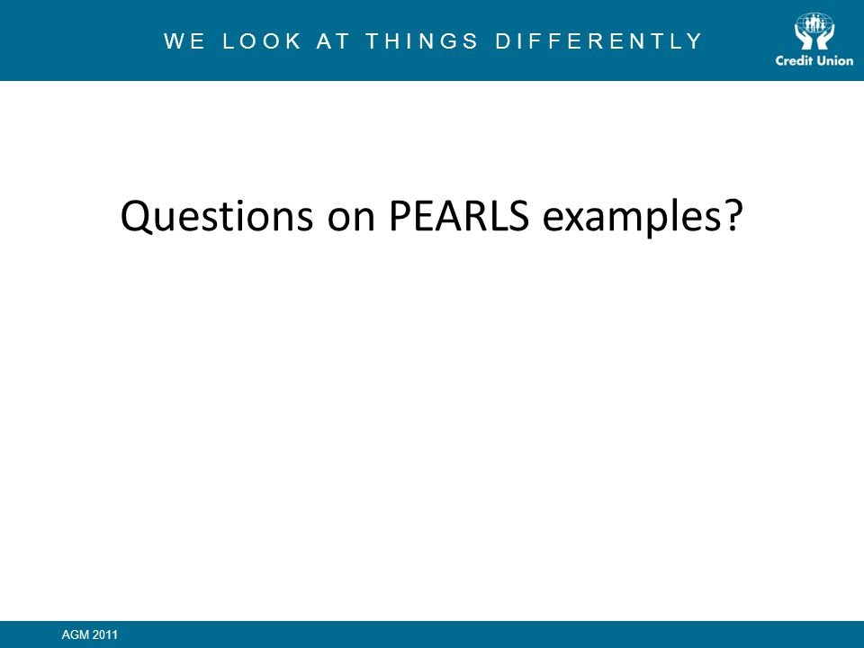 Questions on PEARLS examples