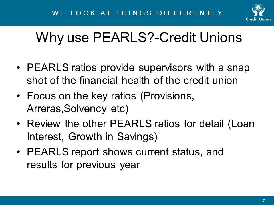 Why use PEARLS -Credit Unions
